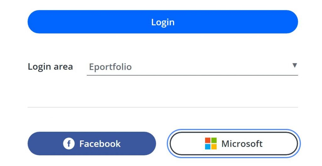 A screenshot of the One File login screen. A blue login button is shown, below this a dropdown box which has the option 'eportfolio' selected. Below these are two icons, a Facebook icon and a Microsoft button which has a blue highlight around it.