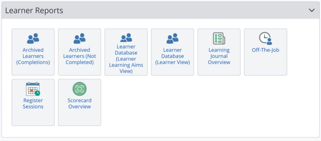 A screenshot of the One File reports tab. A list of reports are shown including: learning journal overview, off the job, register sessions, and scorecard overview.
