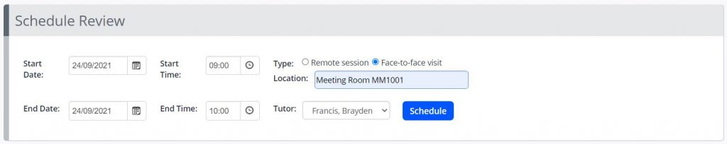 A screenshot of the schedule review interface for One File tutors. Start and end fields for date and time are shown. And a check box to indicate if the meeting is face to face with a location, or remote and online. A blue schedule button is shown.