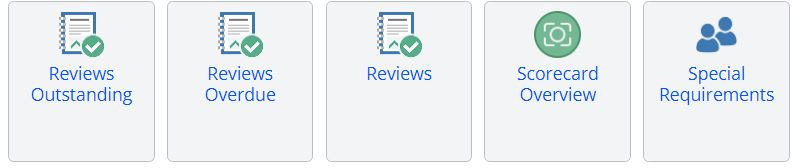 A screenshot of five report icons in the learner reports tab of One File. The icons from left to right are: reviws outstanding, reviews overdue, reviews, scorecard overview, and special requirements.