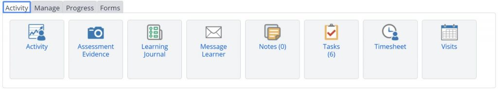A screenshot of the Learner's portfolio information and options tab. This section shows the Activity menu. Within the Activity menu the following icons are displayed: activity, assessment evidence, learning journal, message learner, notes, tasks, timesheets and visits.