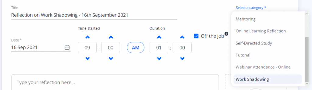 A screenshot of the Learning Journal in One File. This section shows the title, date, time started, duration and category fields. A drop down menu for category is expanded to reveal a list of categories. The work shading category is selected.