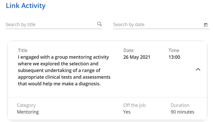 A screenshot of the Learning Journal in One File. This section shows the link activity menu. A timesheet entry is displayed with information concerning when and why this time was recorded. A search bar is shown at the top of the screen.