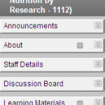 The default Blackboard site menu used at Lincoln