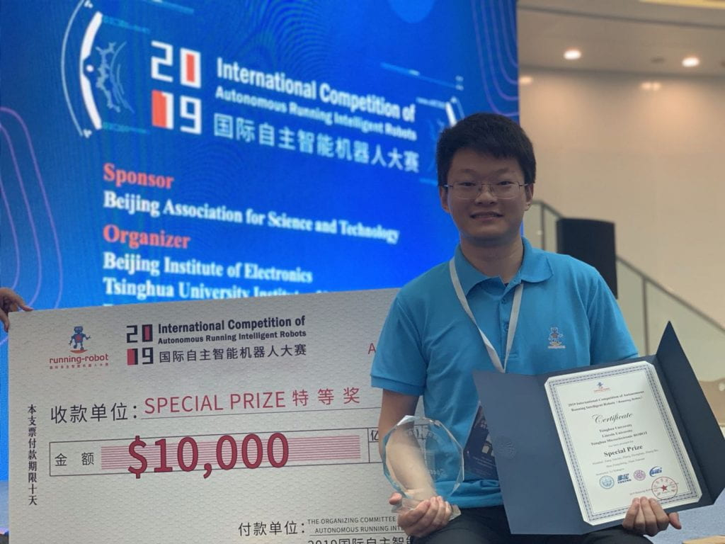 Jiannan Zhao with his award at the Robotics Championship 2019