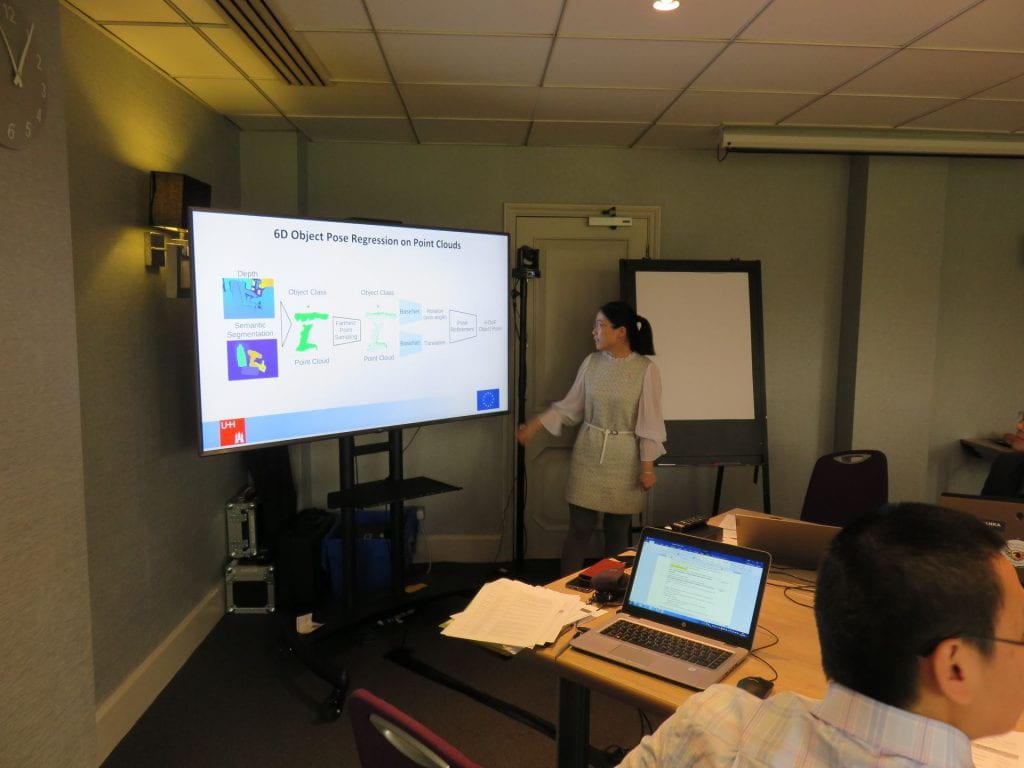 Shuang Li presenting at the ULTRACEPT mid-term meeting held in Cambridge UK