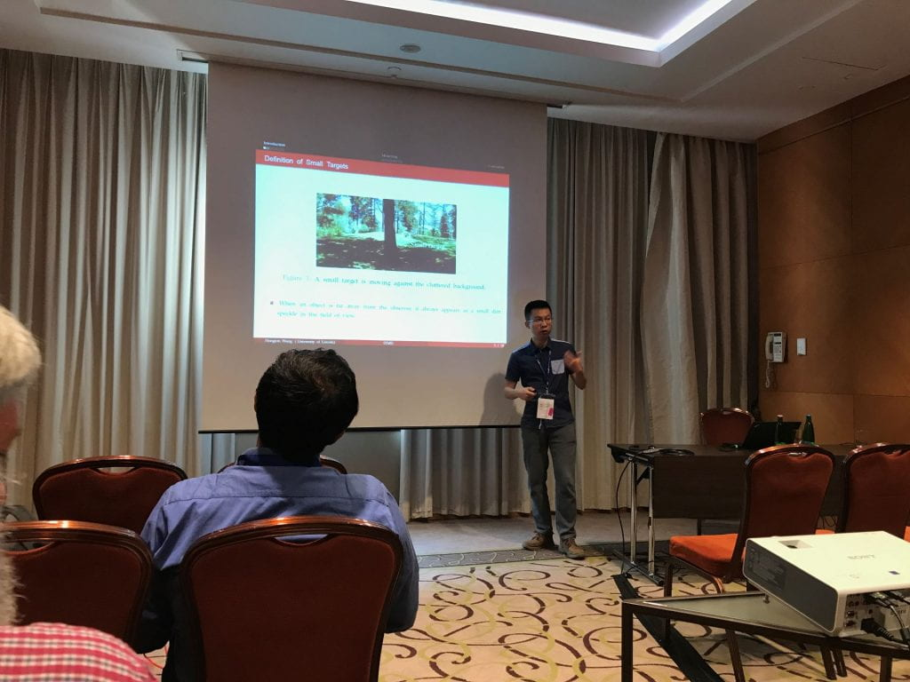 Hongxin Wang presenting 'Visual Cue Integration for Small Target Motion Detection in Natural Cluttered Backgrounds'