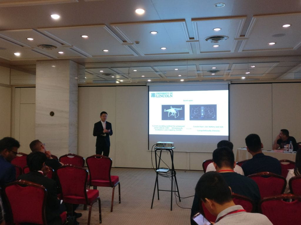 Jiannan Zhao presenting 'An LGMD Based Competitive Collision Avoidance Strategy for UAV' at the 15th International Conference on Artificial Intelligence Applications and Innovations (AIAI) May 2019