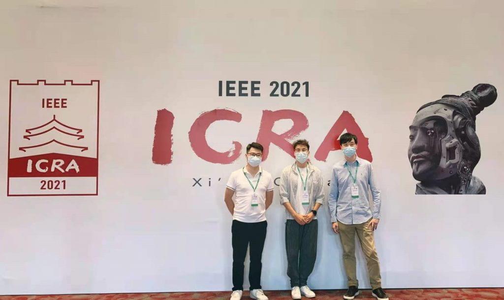 ULTRACEPT researchers Tian Liu, Xuelong Sun and Qinbing Fu attending ICRA 2021