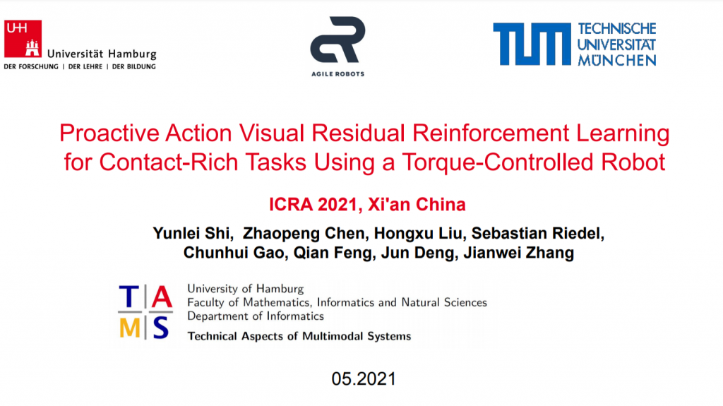 Yunlei Shi: Proactive Action Visual Residual Reinforcement Learning for Contact-Rich Tasks Using a Torque-Controlled Robot