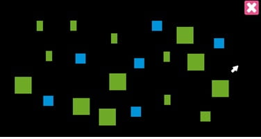 Screenshot from the Eyelander game. It shows green and blue squares of different sizes on a black background