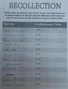 The sign-up sheet with the list of audience members. (Adam Cockerill, 2016)