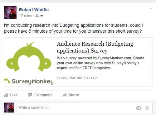 Survey facebook post