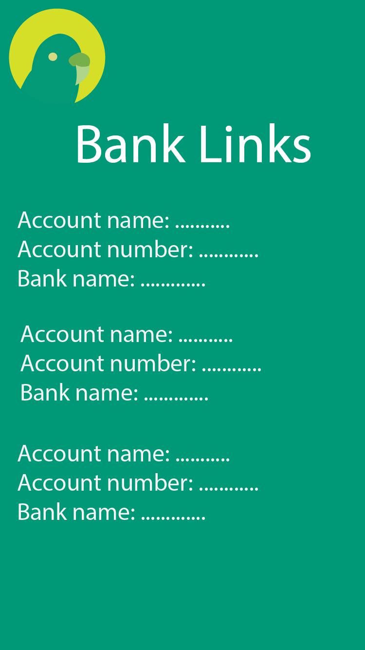 Bank account links screen