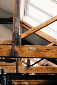 Image of wooden ceiling rafters