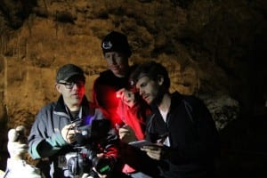 Left to right: Chris Blum (Producer), Kris Charas (1st Assistant Director) and Max Well (Camera Operator)