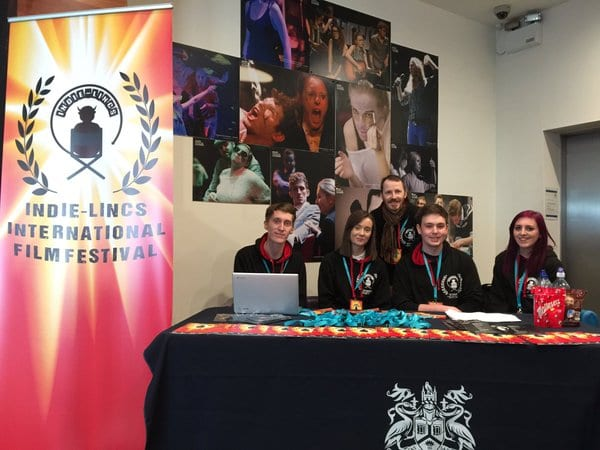 Mikey's with LSFM student coordinators at Indie-Lincs (from left to right) Tom Woodcock, Rhiannon Britten, Ali Mendzil & Aimee Bant