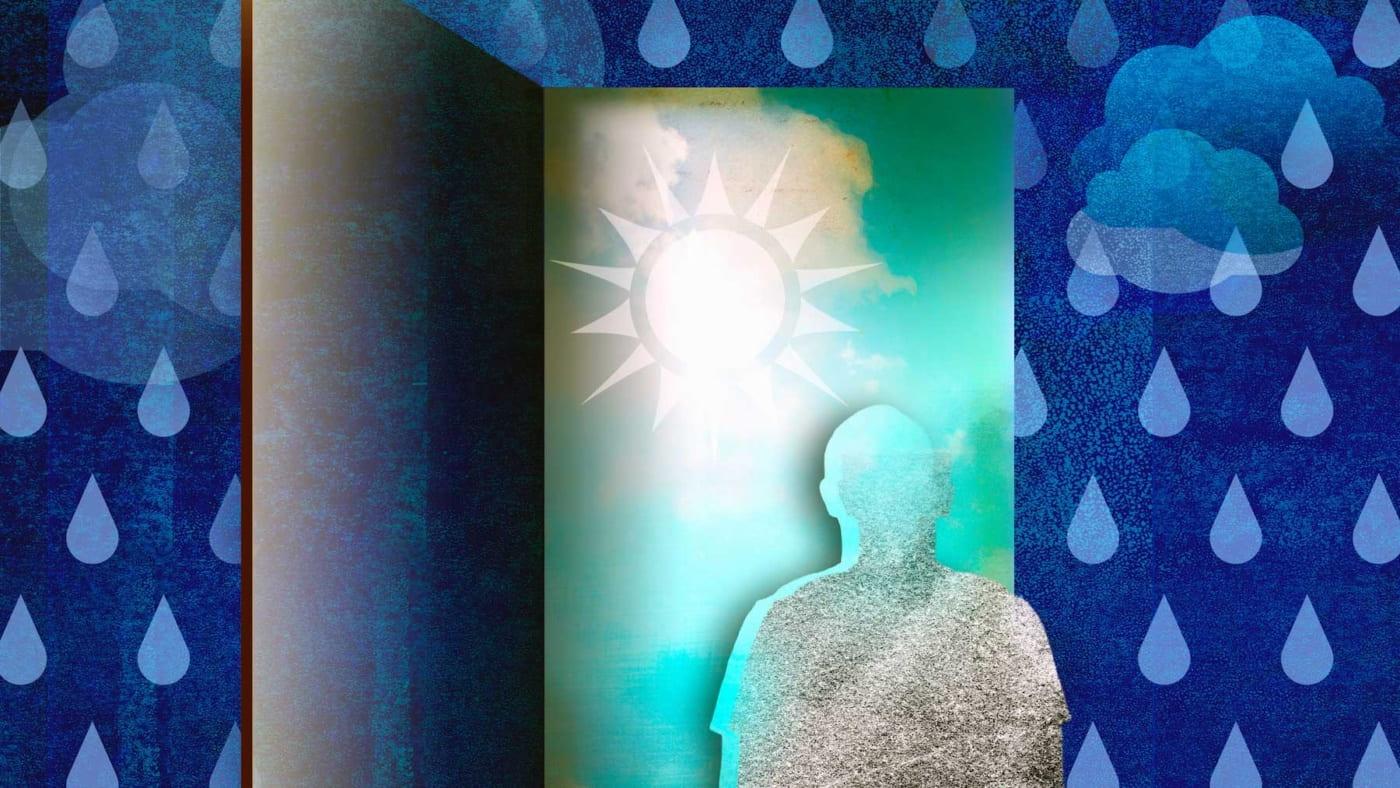 Graphic of human looking through a door.