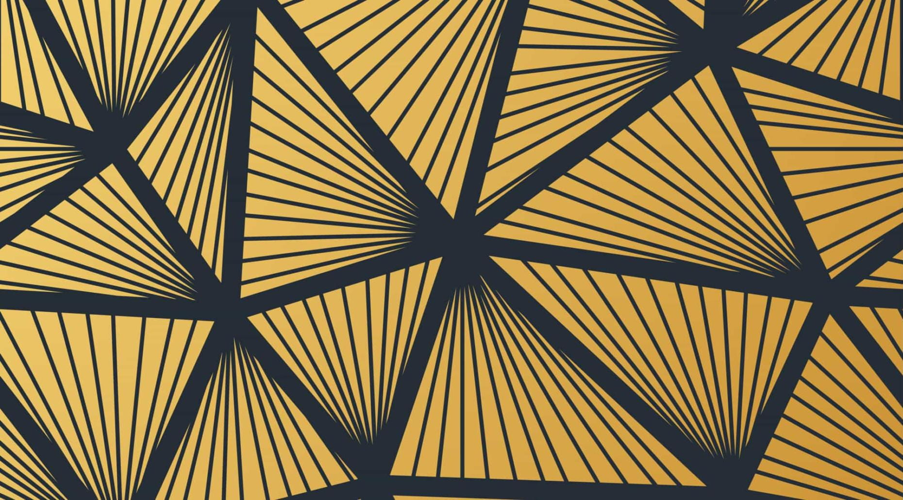 Graphic golden triangles.