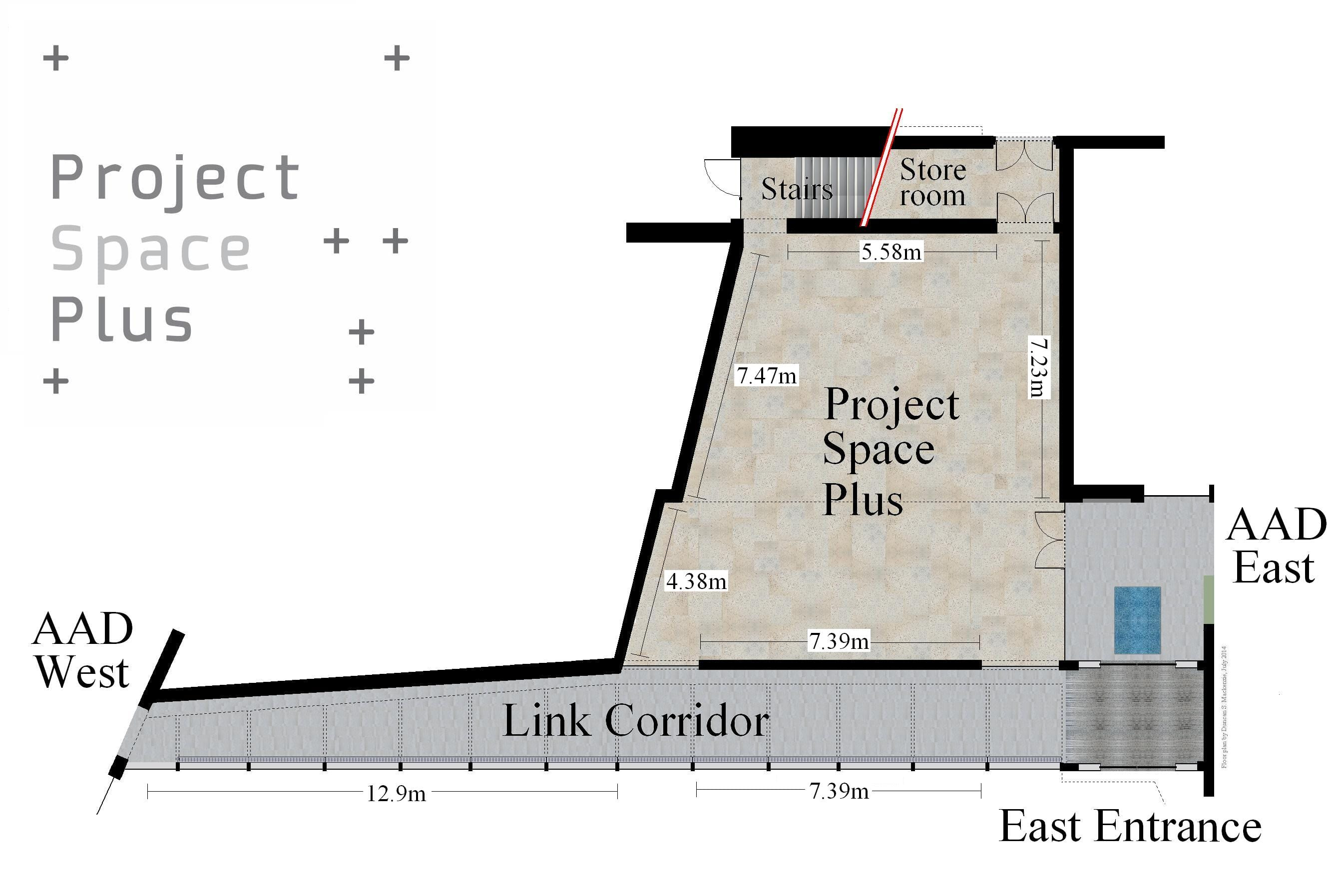 Project Space Plus Ground Floor Plan (with wall measurements in metres).