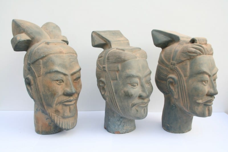 Terracotta heads - one of them is a 3-d printed replica. Can you guess which?