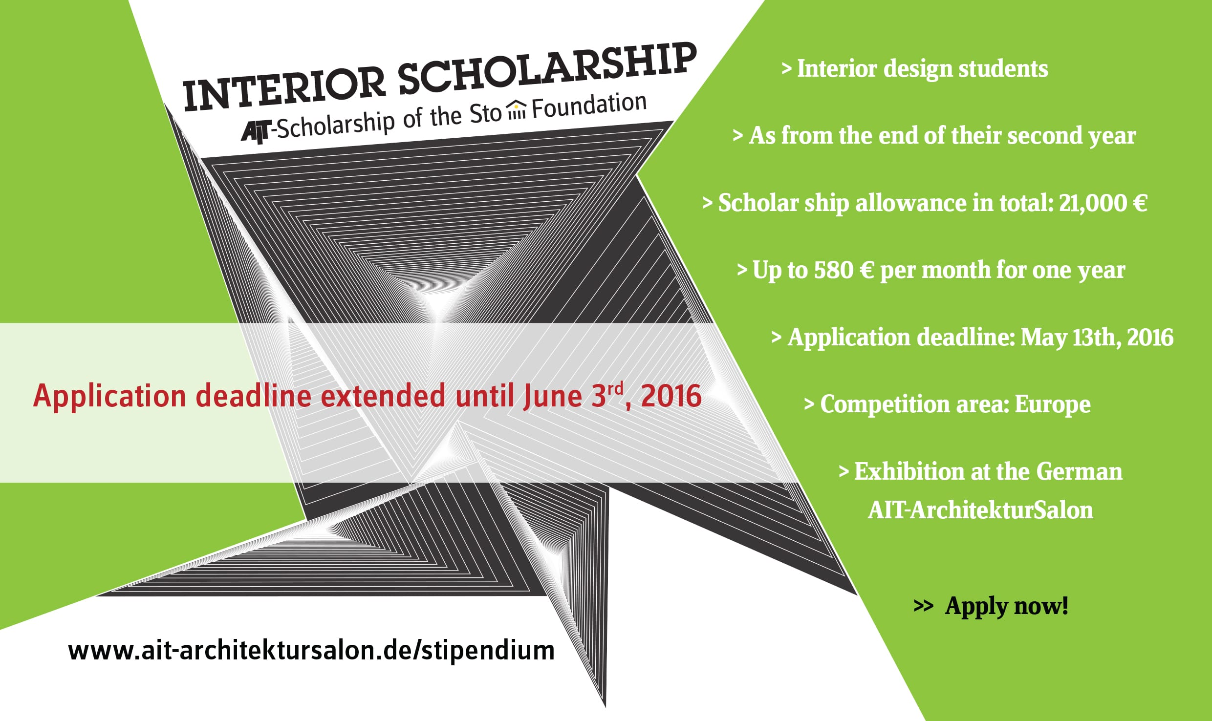Interior architecture scholarship 2016 school of for Interior design 2016 uk