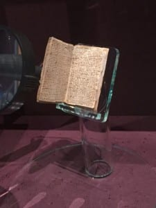 A copy of the Brontë juvenilia on display.