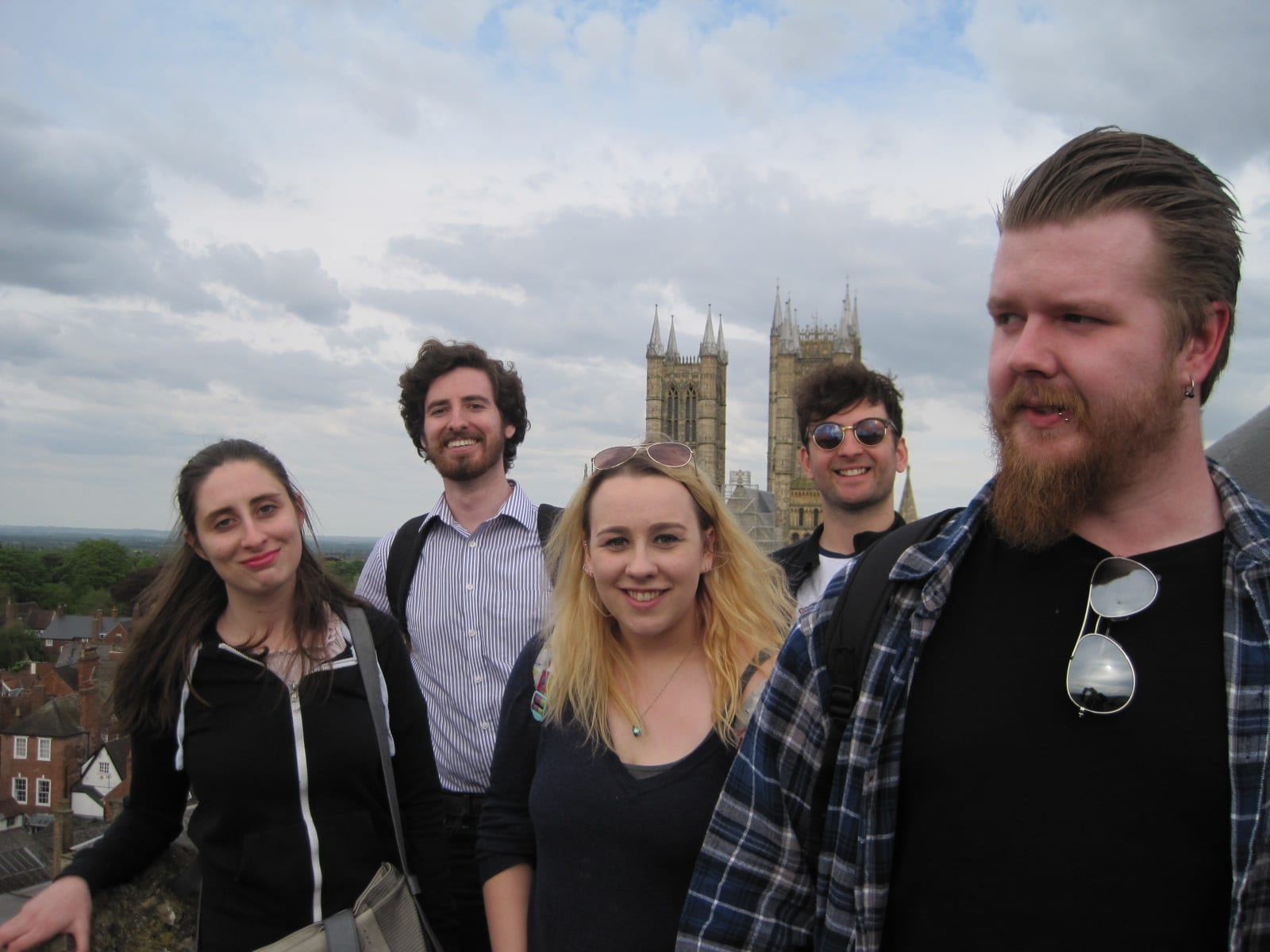 Our students had time for a quick photo on the Observatory Tower, with Lincoln Cathedral in the background! Left to right: Lisa, Trenton, Jeni, Alex and Sam.