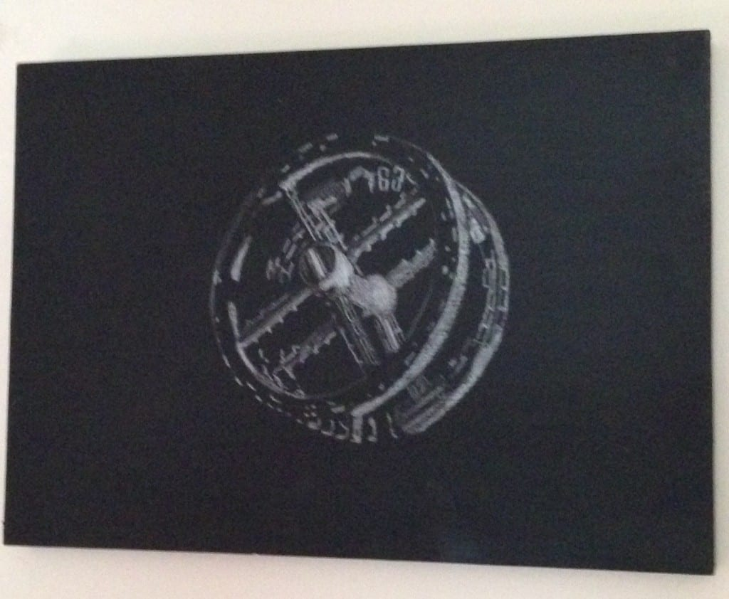 Alex pearl, Station, 2015, pencil on blackboard paint, 17x24 cm  Starting price £10?  They can be hung by mirror plates or Velcro or any way is easiest.