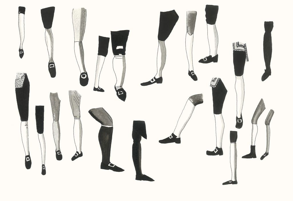 Annabel Tilley. Legs from Old Masters, 2012. Ink on paper, 19.5x28.5cm Start Bidding Price £25, Sale Price £175