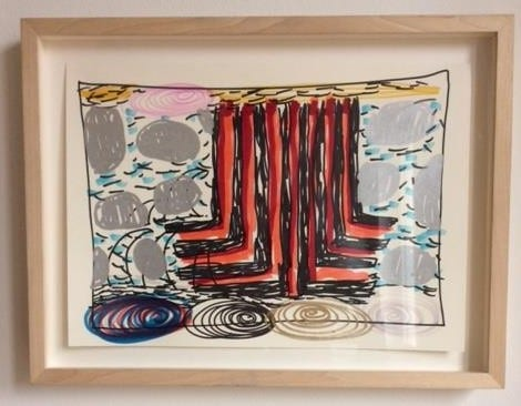 Phillip Allen, Framed Drawing Shown at Xavier Hufkins Gallery 2005 35cmx26cm  felt pen on ivory paper