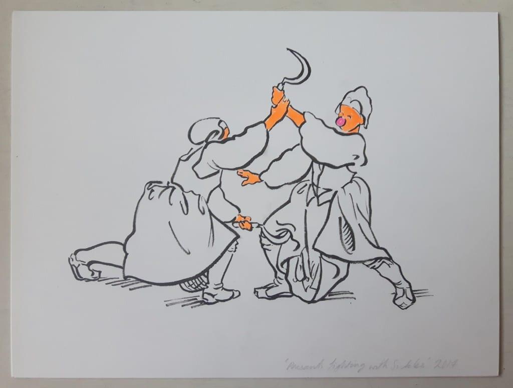 Sigrid Holmwood peasants fighting with sickles