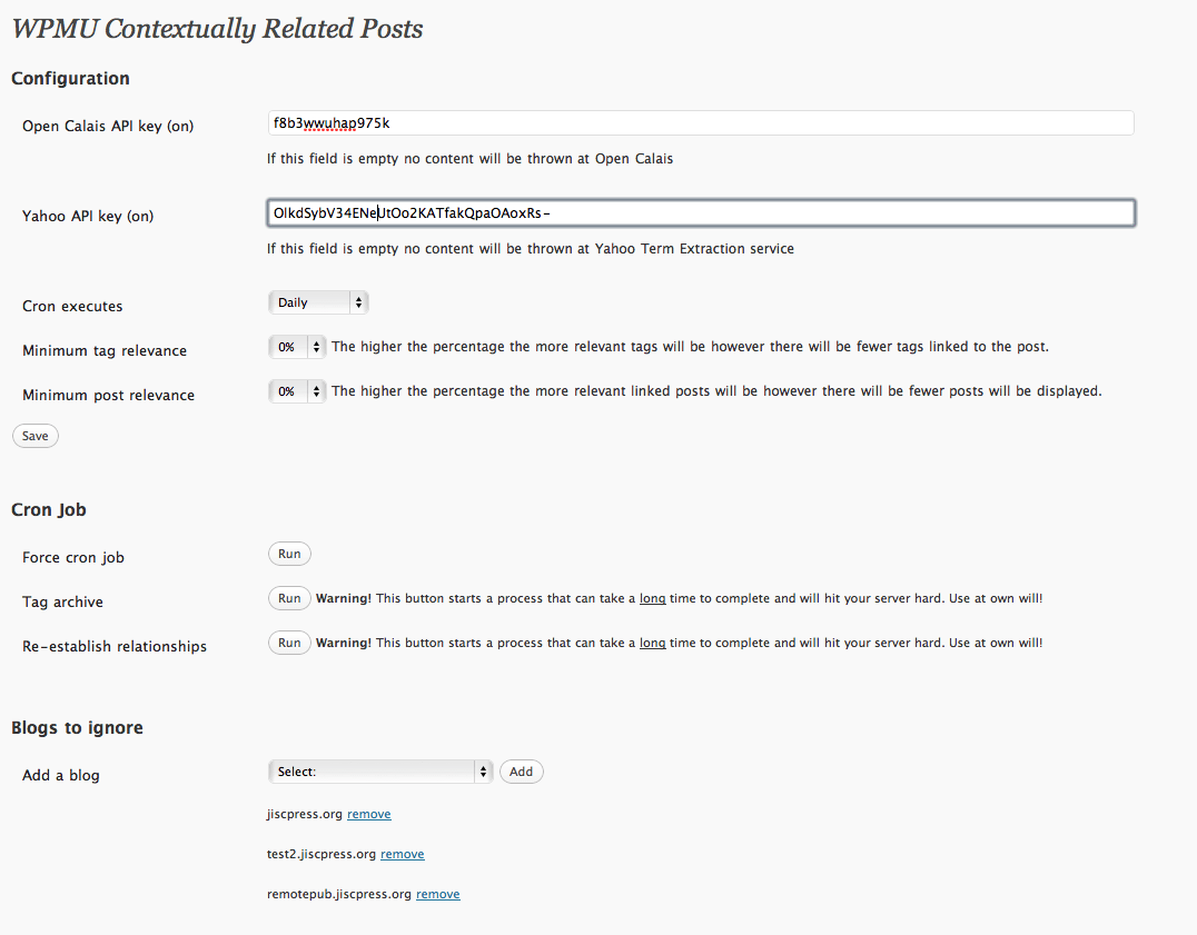 WPMU Related posts admin options