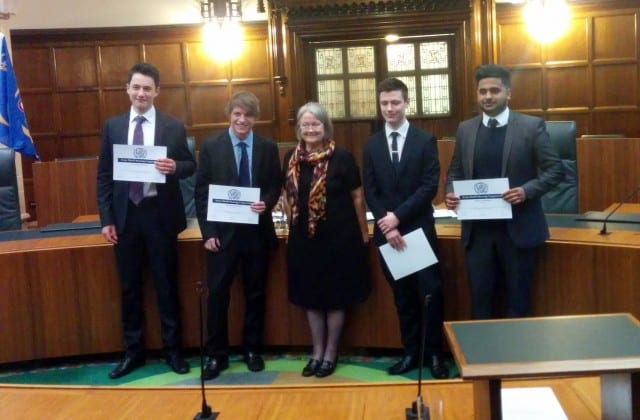 The finalists of the Stone Shield Mooting Competition (from left to right: George Joseph, Michael Ruddick, Baroness Hale of Richmond, Daniel MacNally and Gavindeep Samra).