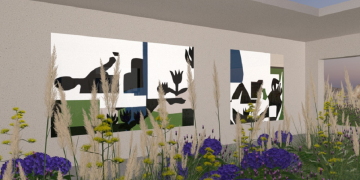 A digitally composed image of abstract artworks 'hanging' on a virtual gallery wall, surrounded by digitally animated purple and green plants.