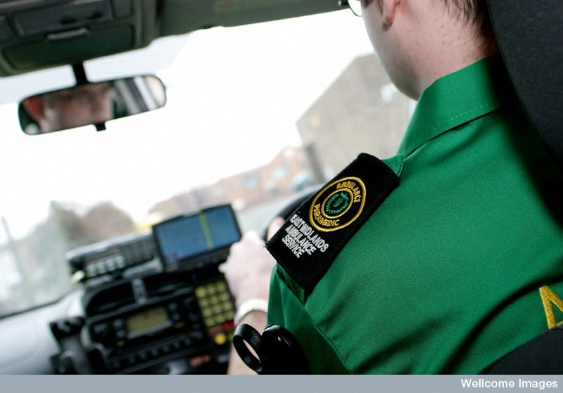 Paramedic driving an ambulance