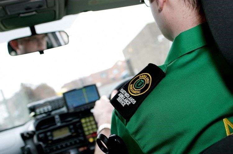 Paramedic driving an ambulance