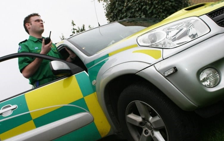 A paramedic and his 4x4 emergency vehicle