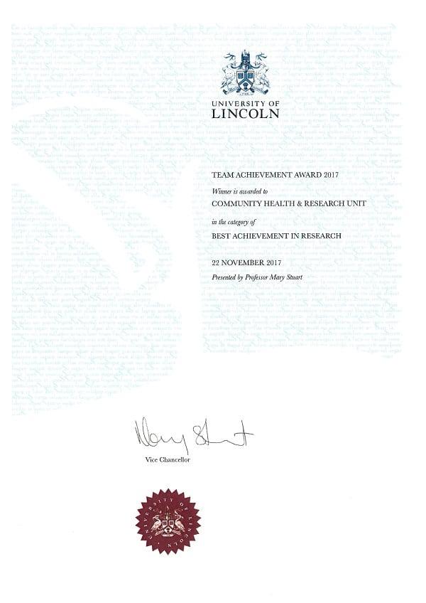 Research Team Award 2017 Certificate