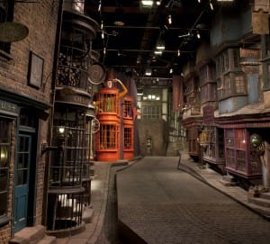 The set of Diagon Alley at the Harry Potter Studios Tour