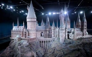 The scale replica of Hogwarts castle at the Warner Bros Studios tour