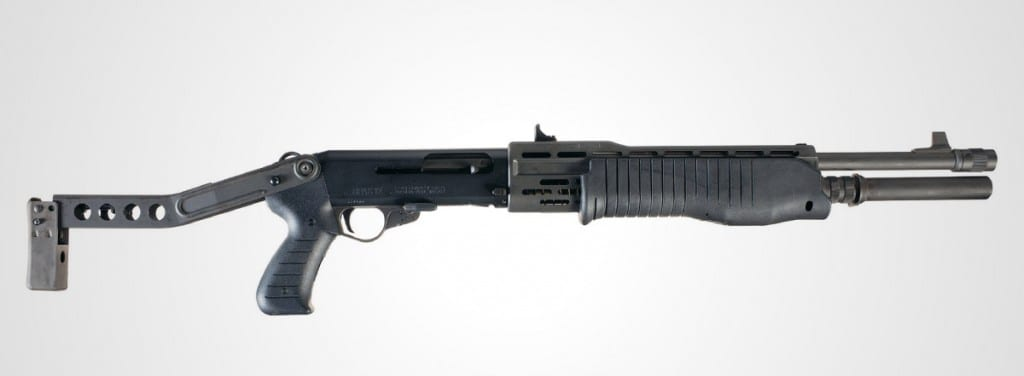 pictured is the Spas-12 12 gauge shotgun, made famous by Robert Muldoon in the film Jurassic Park.