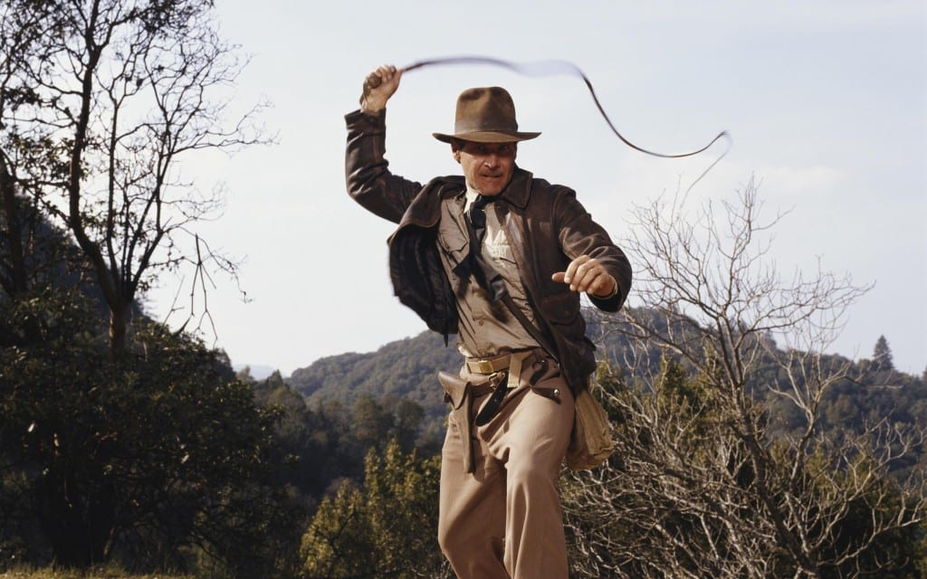 Indiana Jones cracking his whip.