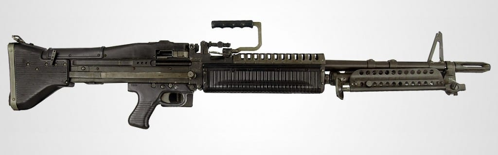 Pictured is an M60 light machine gun, made famous by the Rambo films.