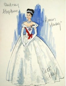 A sketch of Audrey Hepburn in an extravagant white dress