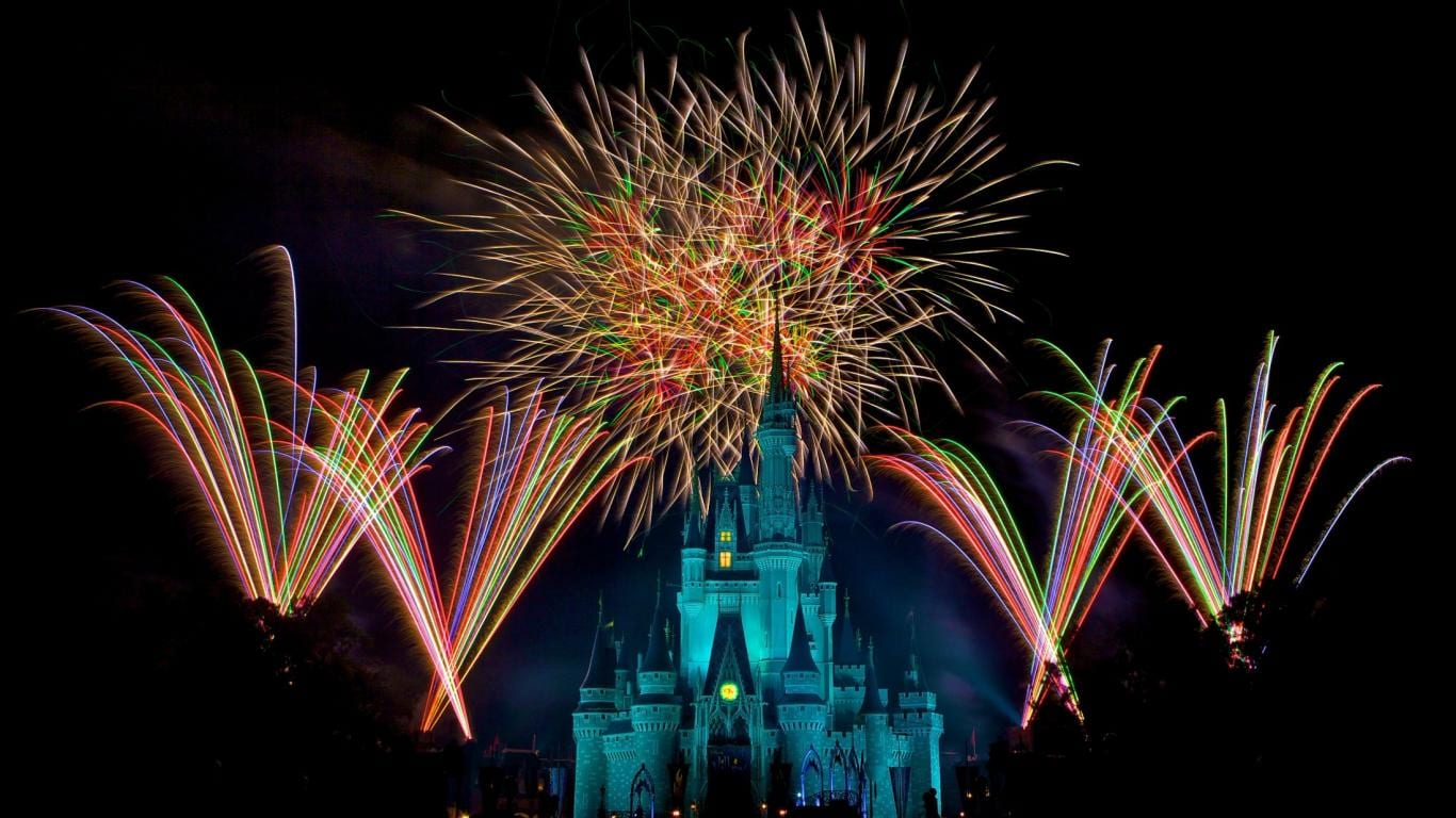 Pictured is the Disney castle with fireworks going off overhead.