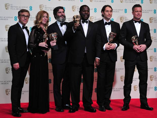 Pictured are the winners for this years BAFTA awards for the film, 12 Years a Slave