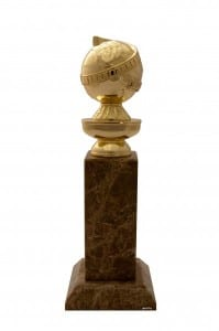 The Golden Globe Award Statuette, a golden globe sat on top of a granite base.