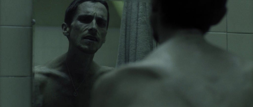 Image shows actor Christian Bale in a scene for the film The Machinist.