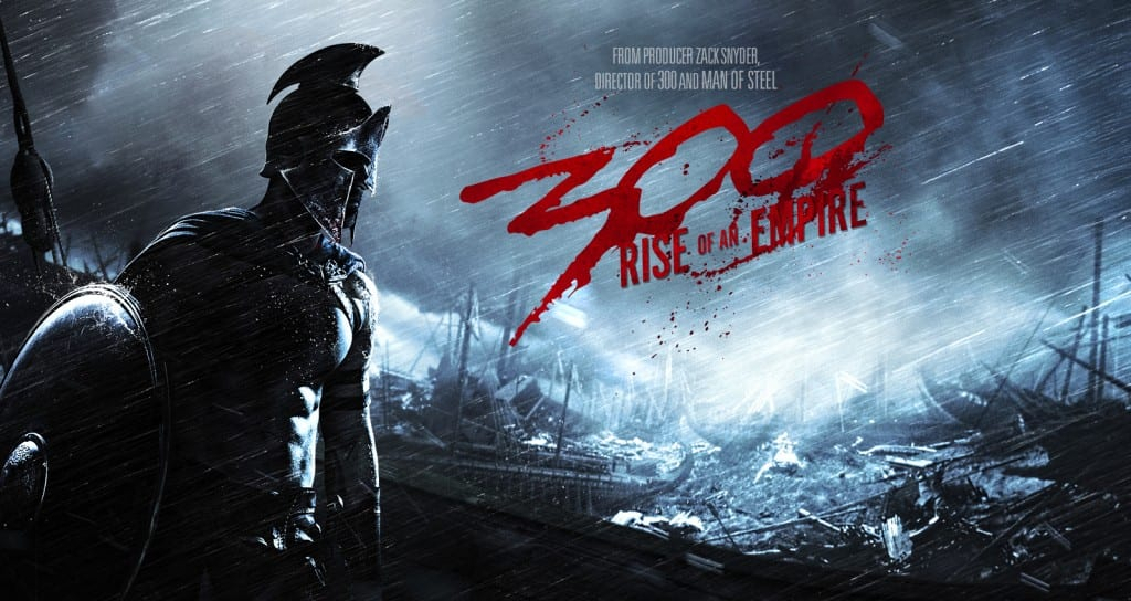 Image shows the movie poster for the upcoming movie, 300:Rise of an Empire. the image shows a spartan warrior amidst a darkened battle.